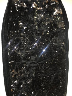 Guess Falda stretch negro-color plata