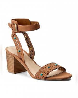 Guess Sandalen, Sandaletten, Gr. 38, Leder, braun, Nieten,