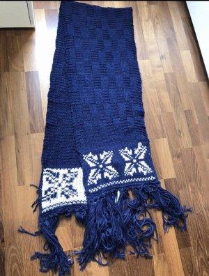 Guess Écharpe en tricot blanc-bleu foncé