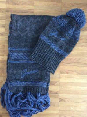 Guess Écharpe en laine gris anthracite-bleu acier