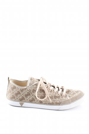 Guess Lace-Up Sneaker white-natural white allover print casual look