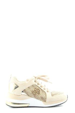 Guess Basket à lacet crème-doré imprimé avec thème style décontracté