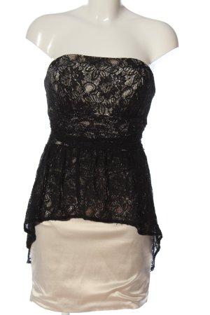 Guess schulterfreies Kleid schwarz-creme Webmuster Casual-Look
