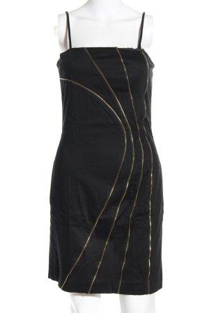 Guess schulterfreies Kleid schwarz-goldfarben Streifenmuster Business-Look