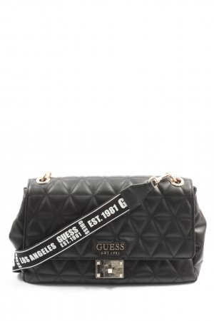 Guess Shoulder Bag black quilting pattern casual look