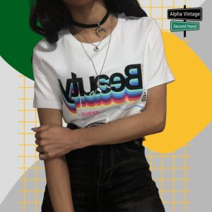 Guess Selfie T-Shirt glitzerndes verspiegeltes Graphic Logo | S NEU