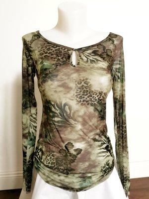Guess Transparentna bluzka oliwkowy-khaki