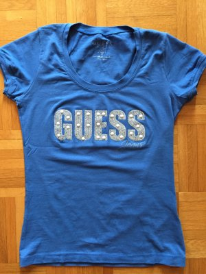 Guess T-Shirt neon blue-white