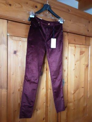 Guess Pantalón de cintura alta burdeos Algodón