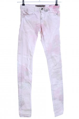 Guess Slim Jeans weiß-pink Blumenmuster Casual-Look
