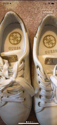 Guess Sneakers met veters wit-goud