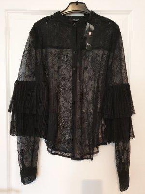 Guess Spitzenbluse Größe S Blogger neu schwarz silber Bluse Volants