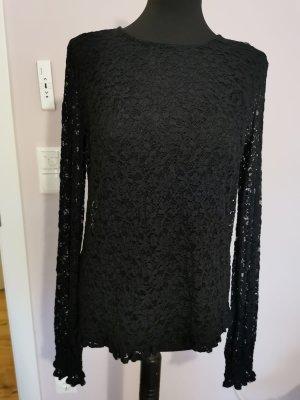 Guess Spitzenshirt schwarz 40 langärmelig neuwertig Figurschmeichelnd