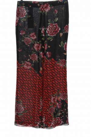 Guess Stoffhose schwarz-rot abstraktes Muster Party-Look