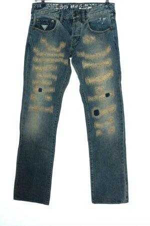Guess Jeansy z prostymi nogawkami niebieski-kremowy W stylu casual