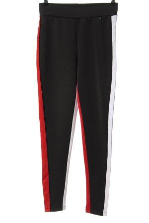 Guess Stretch broek zwart-rood gestreept patroon casual uitstraling