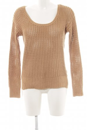 Guess Strickpullover hellbraun Zopfmuster Casual-Look