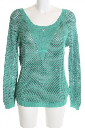 Guess Strickpullover türkis Zopfmuster Casual-Look
