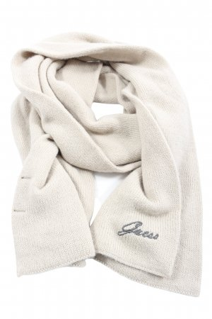 Guess Knitted Scarf natural white printed lettering casual look