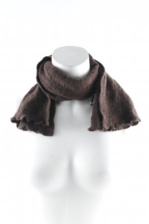 Guess Knitted Scarf dark brown check pattern casual look