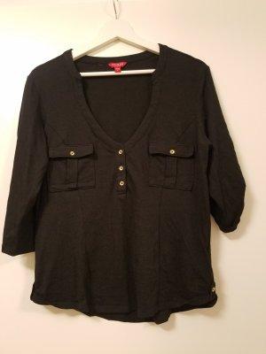 Guess Sweater - Skylar Top (L) in Schwarz mit goldenen Knöpfen
