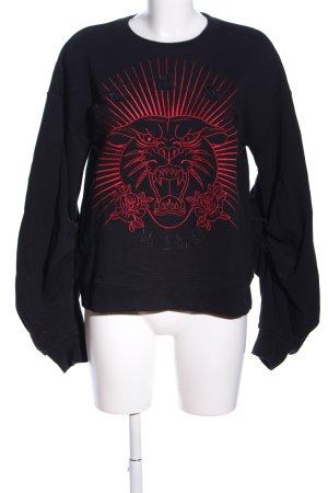 Guess Sweatshirt zwart-rood prints met een thema casual uitstraling