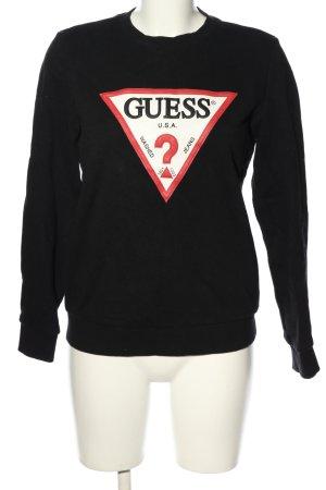 Guess Sweatshirt zwart gedrukte letters casual uitstraling