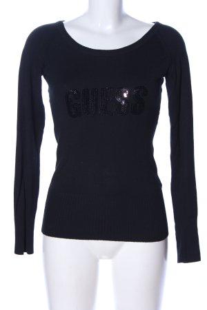 Guess Sweatshirt schwarz Schriftzug gestickt Casual-Look