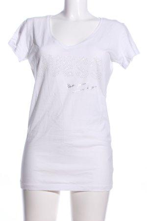 Guess T-Shirt weiß Schriftzug gedruckt Casual-Look