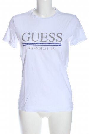 Guess Camiseta turquesa-color plata letras impresas elegante