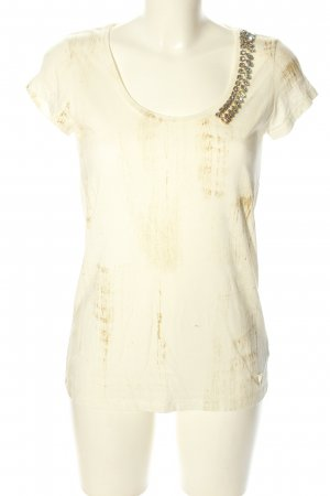 Guess Camiseta blanco-color bronce look casual