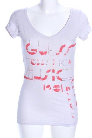 Guess T-Shirt hellgrau-rot Schriftzug gedruckt Casual-Look