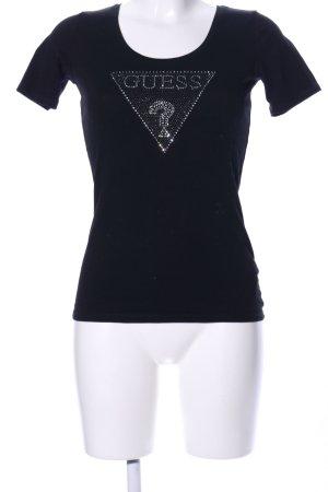 Guess T-Shirt schwarz Schriftzug gedruckt Casual-Look