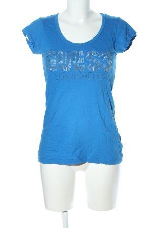 Guess T-Shirt blau Schriftzug gedruckt Glanz-Optik