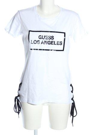 Guess T-Shirt weiß-schwarz Schriftzug gedruckt Casual-Look