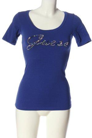 Guess T-Shirt blau Schriftzug gedruckt Casual-Look