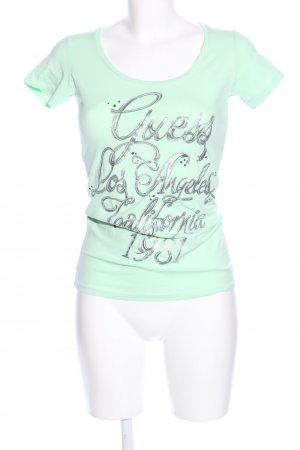 Guess T-shirt verde caratteri stampati stile casual