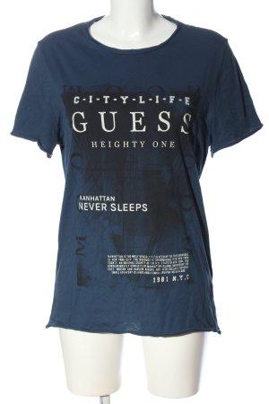 Guess T-Shirt blau Motivdruck Casual-Look