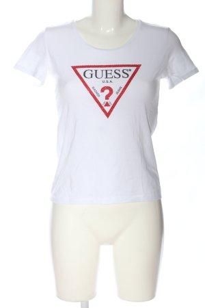 Guess T-Shirt weiß Motivdruck Casual-Look
