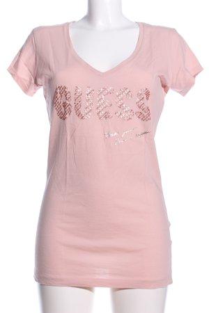 Guess T-Shirt pink Schriftzug gedruckt Casual-Look