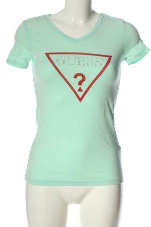 Guess Camiseta turquesa estampado temático look casual