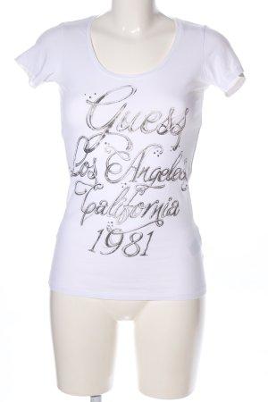 Guess T-Shirt weiß-hellgrau Schriftzug gedruckt Casual-Look