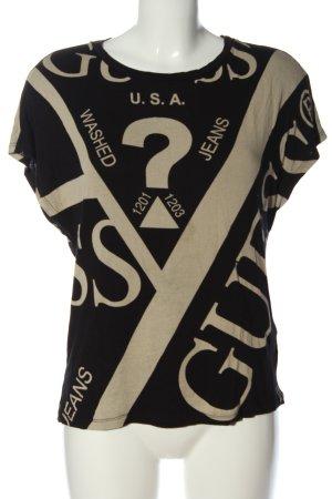 Guess Camiseta negro-blanco puro Mezcla de patrones look casual