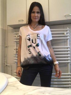 Guess T-Shirt weiß-petrol Motivdruck Materialmix-Look Polyester