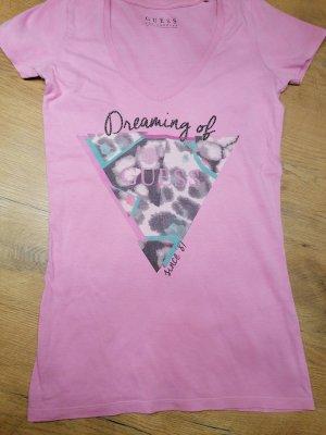 Guess T-shirt col en V rose