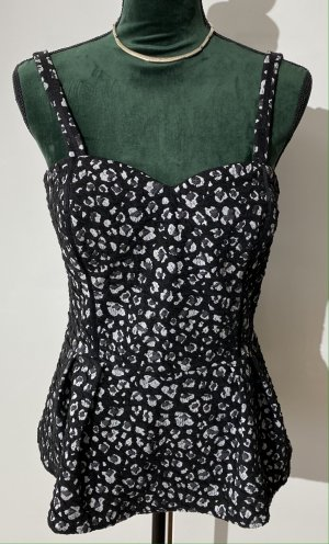 Guess Top tipo bustier negro-blanco Poliéster
