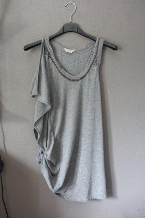 Guess Top, Shirt, Oberteil, grau mit Pailletten und Nieten, ungetragen