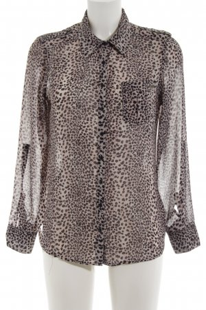 Guess Transparenz-Bluse wollweiß-braun Animalmuster Casual-Look