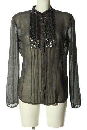 Guess Transparentna bluzka czarny W stylu casual