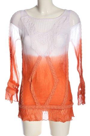 Guess Blusa transparente naranja claro-blanco degradado de color look casual